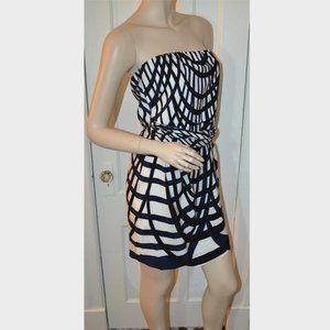 Theory Strapless Mini Dress Multi color Stripe 10